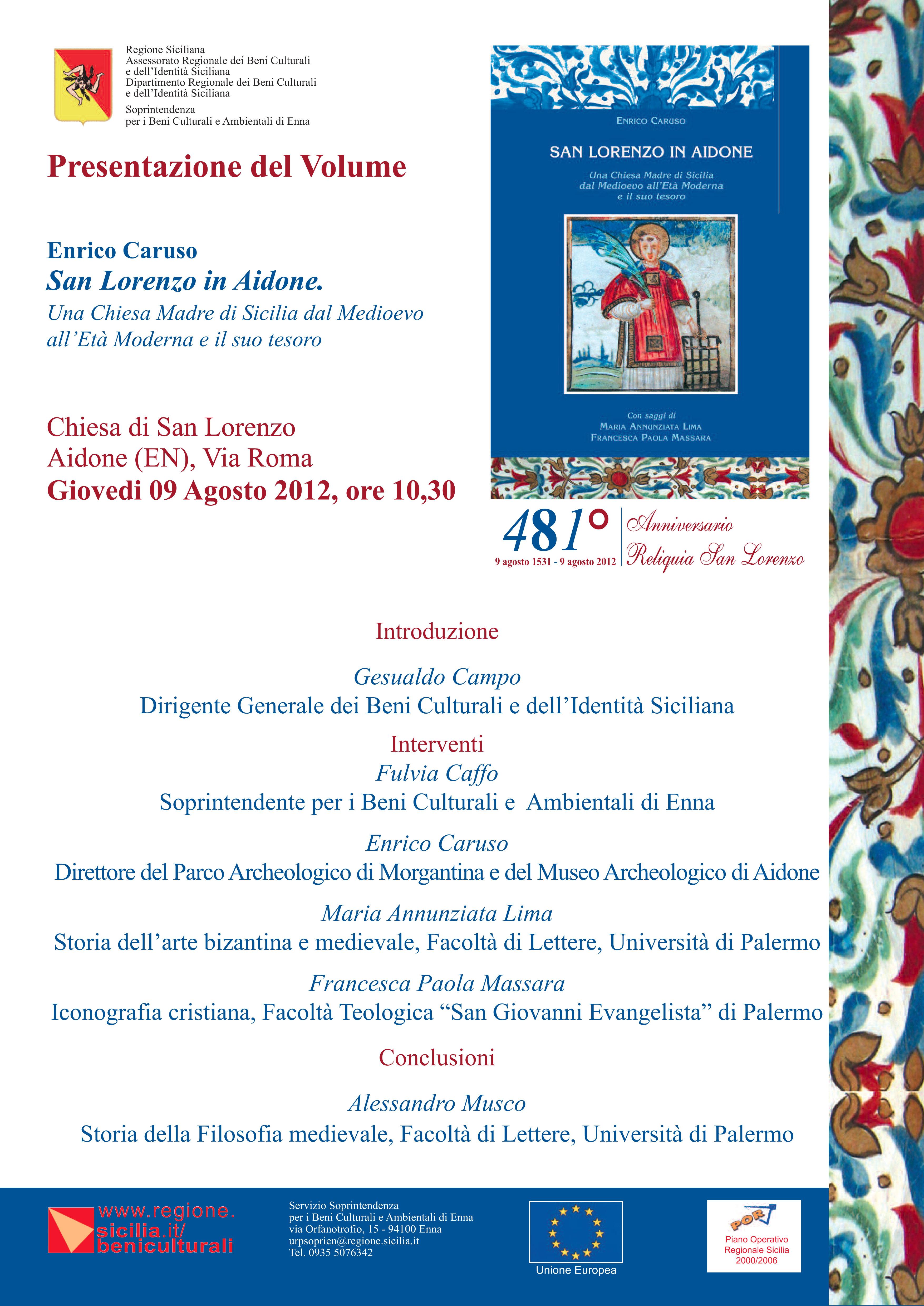 Presentazione del volume San Lorenzo in Aidone